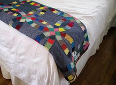 love this modern take on the double wedding ring quilt