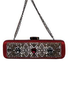 Meera Mahadevia Dazzling Red Studded Clutch