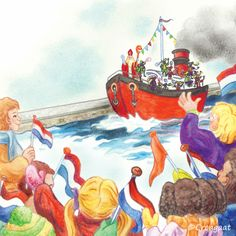 Nostalgische illustratie van de stoomboot met Sinterklaas en zijn Pieten, met ruimte voor eigen tekst.
