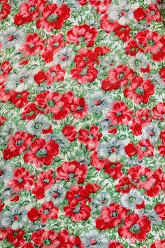 www.vintage-home.co.uk Pretty French 1950s Poppy Fabric