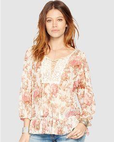 Blusa de mujer Denim & Supply Ralph Lauren con estampado floral y crochet