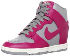 Nike Wmns Dunk Sky Hi High Grey/Fuchsia Hidden Wedge Heels Women's Sneakers Shoes >>> Click image to review more details.