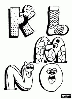 * K, L, M, N en O met grappige tekeningen