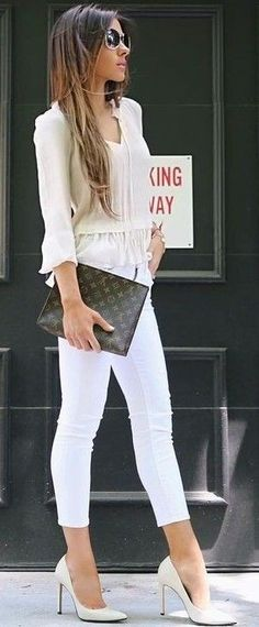 Photo Business style addict / blouse + bag + skinnies + heels from 50 Most Popular Outfit Ideas To Copy ASAP Girl Outfits, Casual Outfits, Cute Outfits, Fashion Outfits, Fashion Trends, Mommy Fashion, Women's Fashion, Runway Fashion, Fashion Women