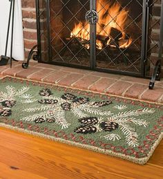 Pine Cone Hearth Rug Rugs And Home Wool Pillows Rustic Style