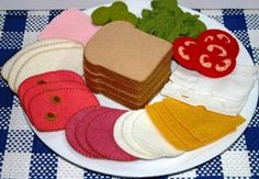 Items similar to Wool Felt Play Food - Deli Meat and Cheese for Sandwiches Tea Parties or Luncheons on Etsy Felt Diy, Felt Crafts, Diy For Kids, Crafts For Kids, Felt Food Patterns, Pretend Food, Pretend Play, Felt Play Food, Diy Toys