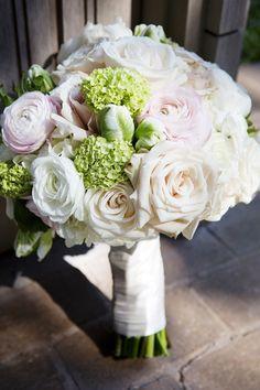 roses, ranunculi, green snowball, white parrot tulips