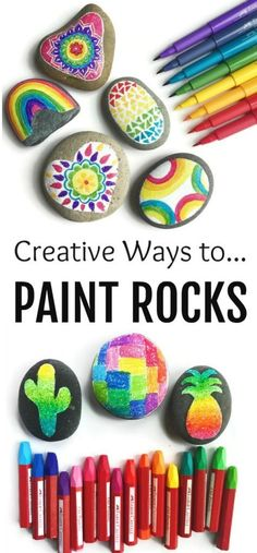 4 Creative ways to paint and decorate rocks! All kinds of tips of supplies to use in this fun art project and craft for kids of all ages! Perfect for summer and rock hunting! ~ From Color Made Happy (Diy Art Projects) Rock Painting Supplies, Art Supplies, Rock Painting For Kids, Painting Art, Interior Painting, Rock Painting Ideas For Kids, Painting Crafts For Kids, Painting Doors, Painting Videos