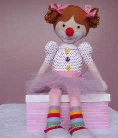 Palhacinha Alegra em feltro- festa circo- palhaça- feltro - menina- circo rosa- circo menina- decoração festa circo