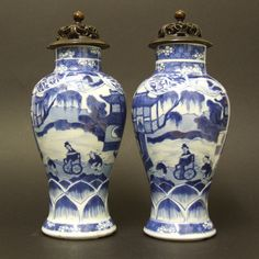 A Pair of Kangxi Blue and White Porcelain Vases c.1690-1720