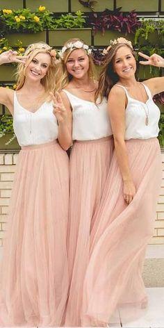 dc8c758ec24 A-line Two Piece Pink Tulle Bridesmaid Dresses