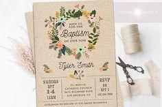 Rustic Baptism Invitation, Floral Wreath Invite, Girl or Boy Baptism, Christening, Printable, LDS Baptism Invite, Kraft Invite,jadorepaperie # 64