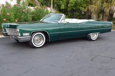 1968 Cadillac DeVille Convertible 0 Green The interior is equally well appointed in elegant white leather with rich green accents. Our example features power brakes, power steering, power windows, and even air conditio. Caddy Daddy, Convertible, Cadillac Eldorado, Cadillac Ct6, Cadillac Fleetwood, Old Classic Cars, Chevy Impala, Jeep Truck, Us Cars