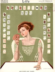 Cover by Coles Phillips - And Hearts are Trumps. Illustrators include William H. Walker, J. R. Shaver, Art Young, F. T. Richards, Otho Cushing, Walter Tittle, F. Fosmire, and more. Life humor magazine from 8 February 1912 - Bridge Number.   eBay!