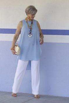 Pants blue shirt cruise fashion, 60 fashion, over 50 womens fashion, fashio Over 60 Fashion, Over 50 Womens Fashion, 50 Fashion, Plus Size Fashion, Fashion Outfits, Fashion Tips, Ladies Fashion, Fashion Trends, Fashion Ideas