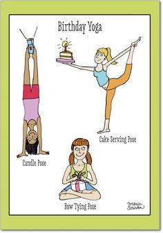 4397 Birthday Yoga Funny Birthday Card with Envelope