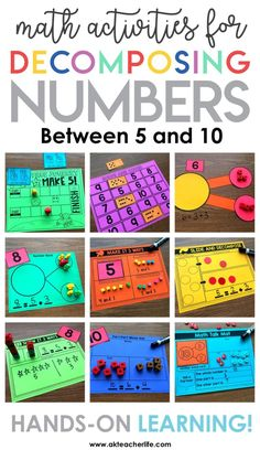 Decomposing Math Center Activities - A Kinderteacher Life Decomposing numbers for kindergarten and first grade! Hands-on activities for practicing decomposing numbers in more than 1 way, finding the number that makes 5 and 10 and writing equations. Maths Guidés, Math Gs, Kindergarten Math Activities, Numbers Kindergarten, Math Classroom, Fun Math, Teaching Math, Preschool, Center Ideas For Kindergarten