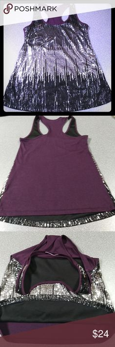 Ombre Sequined Racerback Purple back. Silver to black ombre sequined shirt. NO damage or loose/missing sequins. Inside has a very soft lining so your front is protected from that scratchy feel other sequined shirts can give. The brand tag is made of a velvety type material. This was a favorite of mine. Simply too small now.   No size listed however the measurements are below and in my opinion, it runs M-L, halfway between. Julie's Closet Tops Tank Tops