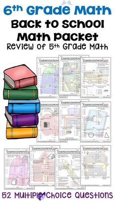 6th Grade Math Back to School Math Packet - Review of 5th Grade Math This 6th Grade Math Back to School Math Packet is perfect for reviewing ALL the 5th grade math standards.  All the common core standards are listed making it easy to know what topics need to be reviewed before 6th grade math.  This printable worksheets is a fun activity for 6th grade students.  Recording Sheet and answer keys are included for easy grading.  Perfect for reviewing word problems, fractions, decimals…