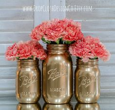 Gold Painted Mason Jars