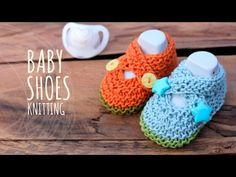 Tutorial Knitting Baby Crossed Shoes - YouTube