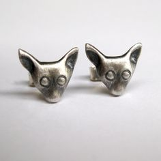 Chihuahua head studs sterling silver by SuKeatesJewellery on Etsy