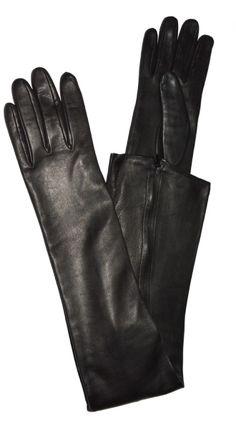 Guanti Eleganti da Sera Lunghi in Vera Pelle-Nappa black leather opera gloves