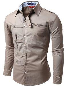 Doublju mens shirts zipper point casual button down shirts, stiles, urban outfits, cool Stylish Shirts, Casual Button Down Shirts, Casual Shirts, Cool Shirts For Men, Urban Apparel, Suit Fashion, Mens Fashion, Fashion Outfits, Only Shirt