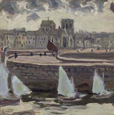Pierre Bonnard (French, 1867-1947), Bâteaux dans un port à marée basse [Boats in a port at low tide], c. 1905. Oil on canvas, 12 x 12 in. (30.5 x 30.5 cm.)