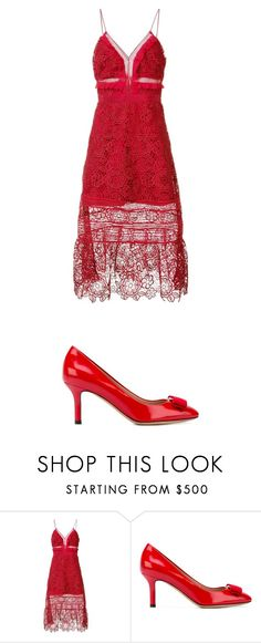 """Untitled #1055"" by laurie-egan on Polyvore featuring self-portrait and Salvatore Ferragamo"
