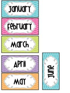 Months of the Year title cards (freebie) This little set includes title cards for months of the year. These can be used for seasonal bins, word walls, classroom décor, calendar bulletin boards, etc. Classroom Organisation, Classroom Displays, Classroom Management, Classroom Decor, Days And Months, Months In A Year, School Classroom, Classroom Activities, Toddler Activities
