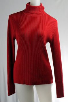CHICO'S 1 Small Red Ribbed Turtleneck Sweater Shirt #Chicos #TurtleneckMock
