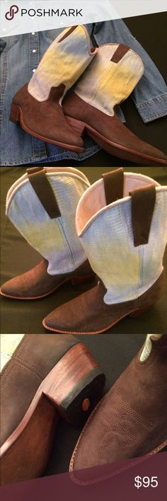 """I'xchel Dream """"Cowgal"""" Boots Hand crafted. All natural materials. Fair trade. Wood sole. Hand woven naturally dyed textile. This pair of Cowgal boots features dark brown nubuck leather with Cecillia (named for the woman who weaves this particular textile). Stacked heel. Euro size39. These are new. Never worn. I'xchel Dream Shoes Heeled Boots"""