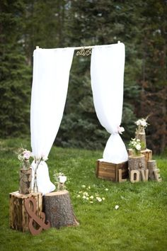 Best Garden Wedding Entrance Ideas You may just stand 2 tall posts and create your curtain entrance. By the the simplest and cheapest entrance idea. Just notice how it was decorated with those LOVE and rustic stuffs.
