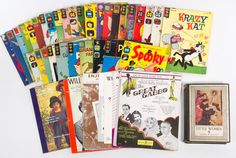 """Lot 838: Comic Books, """"Little Women"""", Sheet Music and Antique Reference Book Assortment; Fifty-six items"""