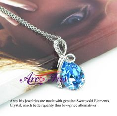 Arco Iris Eternal Love Teardrop Swarovski Elements Crystal Pendant Necklace for Women W 18k White Gold Plated Chain - Blue Topaz