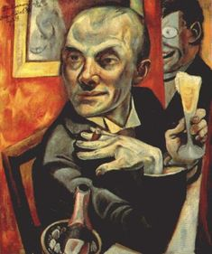 Self Portrait with Champagne Glass   -  Max Beckmann    , 1919     German,  1884 - 1950    Oil on canvas,  95 cm (37.4 in.) x  55.5 cm (21.85 in.)