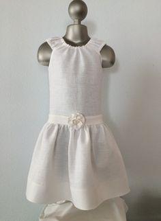 Girls Linen Party Dress, Baptism / Blessing Day Dress, Flower Girl Dress, Linen Peasant Dress, Toddler Linen Dress, Custom, Sizes 2T to 8