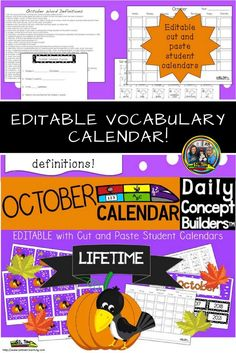 Teachers, introduce your students to daily October vocabulary when you do calendar time. Your students will have their own black and white calendar. These words will increase your students' vocabulary as well as their writing skills. Great support for ELL