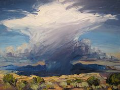 Phoenix Art Museum, Louisa McElwain, Desert Rain God, I saw this painting at the museum and it really grabbed my attention. This image doesn't do it justice. If you get a chance - go see it. Landscape Art, Landscape Paintings, Landscapes, Oil Painting Basics, Gouache Painting, Phoenix Art Museum, Virtual Art, Collaborative Art, Western Art