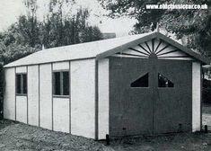 Rising sun motif over garage door (timber and asbestos car garage 1950s)