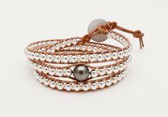 Bracelet perle de Tahiti et argent monté sur cuir naturel