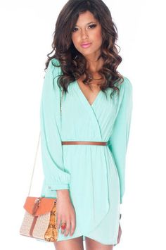 LOVE this mint wrap dress.