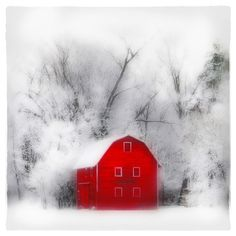 Country winter, 8x8, Art, photography, nature, winter photography, Michigan, Original, winter photograph, farm house chic, barn, red decor on Etsy, $39.99