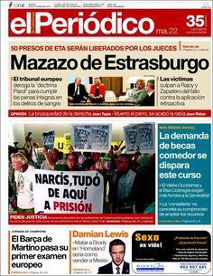 Los Titulares y Portadas de Noticias Destacadas Españolas del 22 de Octubre de 2013 del Diario El Periódico ¿Que le pareció esta Portada de este Diario Español?