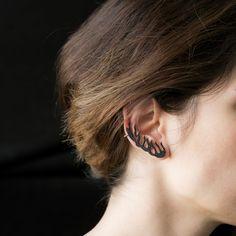 Ear Jacket Silver EarringEar Cuff Wrap Clip Earring by ETHEIA