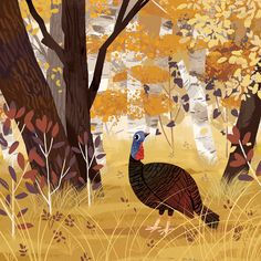Thanksgiving Turkey on Behance Forest Illustration, Children's Book Illustration, Illustration Styles, Animal Illustrations, Turkey Drawing, Thanksgiving Art, Illustrators, Folk Art, Painting