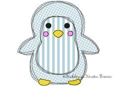 Pinguin Doodle Stickmuster für eine Stickmaschine. Doodle penguin appliqué embroidery design for embroidery machines.
