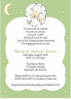 Invitation For Baby Shower Lamb U0026 Star Theme