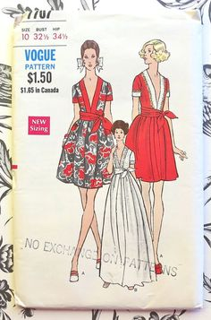 Vogue 7707  Vintage 1960s Womens Deep V Dress Pattern by Fragolina